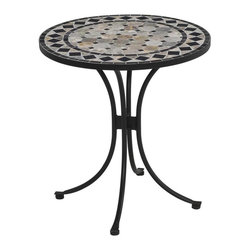 HomeStyles - Round Bistro Table - Natural octagon marble tiles table top. Black square marble tile accents. Trimmed in a rectangular and square. Black marble tile ring. Adjustable nylon glides prevent damage to surfaces caused by movement. Made from steel. Tan and black finish. Made in Vietnam. Minimal assembly required. 27.25 in. Dia. x 30 in. H. Warranty. Assembly Instructions