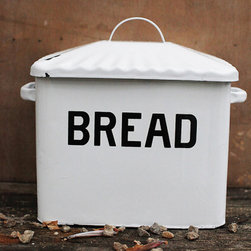 Enameled Bread Box - White enamel over metal old school bread box with handled lid. Clearly states the contents in black lettering. Put it in a place of honor and then stop to thank your great grandmother at whose house you saw it first.