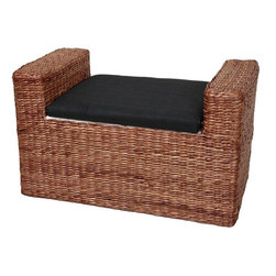 Oriental Furniture - Rush Grass Storage Bench - Dark Brown - A beautifully crafted, rustic design storage bench, great for a window seat or storage trunk in practically any room. Built with a kiln dried wood frame and woven water hyacinth rush grass in an attractive rattan style design. The foam cushion is upholstered with an attractive Japanese style black fabric; the inside is lined with a lovely white fabric.