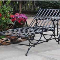 International Caravan Wave Adjustable Chaise Lounge - Imagine spending a warm breezy afternoon relaxing in the backyard on the International Caravan Wave Adjustable Chaise Lounge. Constructed of wrought iron this chaise features a unique wave design along the sides and elegantly rounded armrests. Decorative balls can be found at each intersecting point. The backrest adjusts to five positions so you'll always find a comfortable spot. The black and dark green marble finish features advanced EP protection with rust protection. It's much stronger and reliable than powder-coating which means this piece will look great season after season. Wheels on the back make it easy to tip up the front and drag the chaise to a new spot on the lawn. Cushion sold separately; see below to purchase.