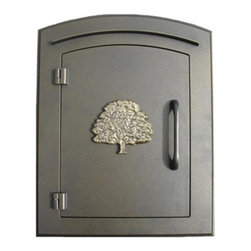 Qualarc, Inc. - Manchester Mailbox, Oak Tree Logo, Bronze - This decorative cast aluminum mailbox insert can be matched with an optional newspaper holder or address plaque. The doors are sealed against the weather and its 22 gauge steel masonry box is electro-galvanized and powder coated to last.