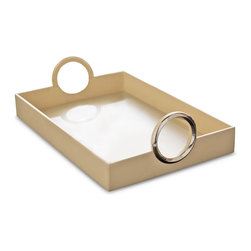 Kathy Kuo Home - Faye Hollywood Regency Leather Serving Tray with Silver Ring Handles - The silver spoon may soon be replaced as the symbol of extravagant necessity by this luxurious leather serving tray. Generous enough to hold breakfast in bed or appetizers on the veranda, this cream-colored carrier has large, silver rings for a firm, fashionable grasp on your offerings.