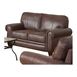Coaster - Coaster Bentley Rustic Styled Microfiber Loveseat in Brown - Coaster - Loveseats - 504202 - Marrying a rustic aura with traditional style elements this living room loveseat will bring an elegant lived-in aura to any family room or living space. While traditional rolled arms and exposed wood feet cast classic furniture trademarks onto the design plush padded cushions and casual seam stitching provide elements of comfort that cannot be ignored. Welt cord trim completes the piece offering tailored accent for an added touch of style. Pair this piece with its coordinating sofa and chair for an elegant ensemble with a touch of rustic fashion.