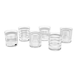 Tratto Argento Assorted Rocks Glasses, Set of 6 - A complement to any bar, these handmade cocktail glasses have a shiny side with a glamorous sterling silver exterior. These glasses feature different stripe patterns, giving each a distinct look. Holds 11 oz.Designed by Paola Navone. Handmade in Italy.