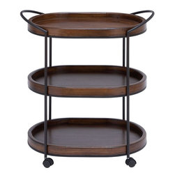 Benzara - Metal Wooden 3 Tier in Dark and Natural Wood Finish - This stylish and elegantly designed metal wooden 3 tier tray is a lovely addition to your kitchen space. Lavished with a dark, natural wood finish, this three tier tray is a wonderful combination of classic elegance and contemporary style. Styled with neat lines and smooth contours, this tray offers versatile functionality and can also be used as a serving tray to keep dips, soups ad finger foods close at hand when entertaining your guests and family. The tray offers easy movement for an added convenience. The slender metal frame of this tray is resistant to easy wear and is also detailed with a smooth, matte finish.