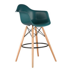 Barstool Arm Chair in Teal - Take iconic mid-century modern design to new heights. Inspired by the classic design aesthetic of our Montmarte Arm Chair, the Barstool Arm Chair offers stylish modern seating for your counter-height needs. The chair features a smooth polypropylene seat with a waterfall edge for added support. It also features natural wood dowel legs. We see this chair fitting in at the kitchen island, providing a comfortable seat for late night stacks or kitchen chatter. Available in a variety of vibrant colors, the chair will spruce up your décor without overpowering the room.