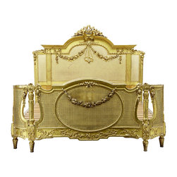 Lansky Studio - Jessica French Louis XV style Cane Bed in Gold, King - Add some french Louis XV style to your bedroom with this luxury Jessica french  cane bed. Gorgeous hand carvings. Made from solid mahogany wood with beautiful details and cane. Hand finished in gold with beautiful appliques that add so much french