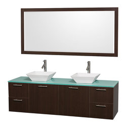 Wyndham Collection - 72 in. Wall Mount Vanity with Mirror - Includes drain assemblies and P-traps for easy assembly. Faucet not included. Modern clean lines. Two functional doors. Four functional drawers. Eight stage preparation. Veneering and finishing process. Highly water-resistant low V.O.C. sealed finish. Unique and striking contemporary design. Modern wall mount design. Deep doweled drawers. Fully-extending soft-close drawer slides. Soft close door hinges. Single-hole faucet mount. Plenty of storage space. Green glass top. White porcelain sinks. Engineered for durability, and to prevent warping and last a lifetime. 0.75 in. thickness. Made from highest quality grade E1 MDF. Metal exterior hardware with brushed chrome finish. Espresso finish. Minimal assembly required. Vanity: 72 in. W x 22.25 in. D x 21.25 in. H. Mirror: 70 in. W x 33 in. H. Care Instructions. Assembly Instructions - Sink. Assembly Instructions - MirrorTruly elegant design aesthetic meet affordability in the Wyndham Collection Amare Vanity. The attention to detail on this elegant contemporary vanity is unrivalled.