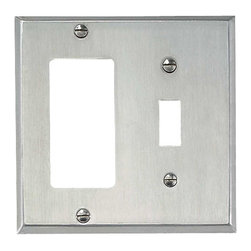 Renovators Supply - Switchplates Brushed Stainless Steel GFI Toggle Switch Plate - Single GFI & Single (1) Toggle Switchplates: It only takes a moment to reinvigorate a room with these Stainless Steel wallplates.