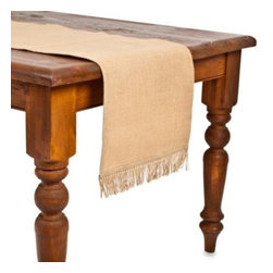 Ecoaccents - ecoaccents Natural Burlap Table Runner with Fringe - An easy fit for nearly any size table, buffet, sideboard, or kitchen island this burlap table runner brings an eco-chic, rustic feel to your dining decor.