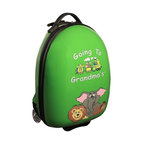 """Mercury Luggage - Children's Carry-on Luggage in Green - Carry-on approved. Clear in-line wheels. Lined interior . Internal zippered divider . Fun, bright and durable. 12 in. L x 9 in. W x 18 in. H (4 lbs)They will enjoy the pictures of the animals on the front and back and so will the Parents & Grandparents. It has a a push button adjustable telescopic handle & pulls out to (18 in. or 10 in.), and a top center carry handle, 2.5 in. Clear Plastic in-line skate wheels with protective guards. On the bottom is a foot-support for stand alone balance, has a """"U"""" shaped zipper opening. The inside has has nylon lining, tie down straps on one side with a """" U """" shaped zipper on the other side to protect personal items."""