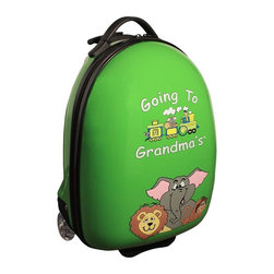 "Mercury Luggage - Children's Carry-on Luggage in Green - Carry-on approved. Clear in-line wheels. Lined interior . Internal zippered divider . Fun, bright and durable. 12 in. L x 9 in. W x 18 in. H (4 lbs)They will enjoy the pictures of the animals on the front and back and so will the Parents & Grandparents. It has a a push button adjustable telescopic handle & pulls out to (18 in. or 10 in.), and a top center carry handle, 2.5 in. Clear Plastic in-line skate wheels with protective guards. On the bottom is a foot-support for stand alone balance, has a ""U"" shaped zipper opening. The inside has has nylon lining, tie down straps on one side with a "" U "" shaped zipper on the other side to protect personal items."