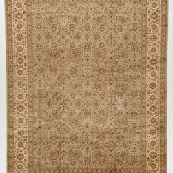 Rug Knots - Multi Colored Persian Hand Knotted Oriental Runner Rug with Borders 9x12.25 - This extremely intricate rug would add visual depth to any space. The rug's muted yet colorful palette features cool blues, soft beiges, earthy greens, warm tans, and so much more.