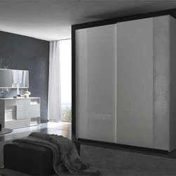 Nightfly Sliding 2 Door Modern Wardrobe By Rossetto - Sensuous striking beauty is at the heart of the Nightfly Sliding 2 Door Modern Wardrobe. Its effortless sliding mechanism on the large front doors and the subtle crocodile print leather upholstery detailing capture the true essence of Italian design and workmanship.