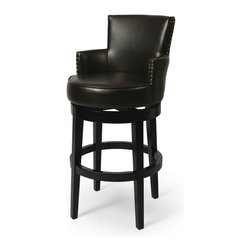 "Pastel Furniture - Zedar Swivel Barstool - The Zadar barstool will instantly add an elegant touch to your home decor. This swivel barstool features a quality wood frame with sturdy legs and foot rest finished in Feher Black. The padded seat is upholstered in Bonded Brown Leather for comfort and style. Available in 26"" counter height or 30"" bar height. Assembled dimensions for this barstool: 43H x 20.5W x  23.63D"