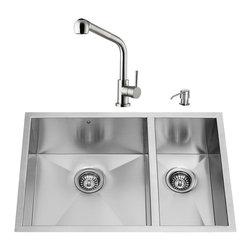 """VIGO Industries - VIGO All in One 29-inch Undermount Stainless Steel Double Bowl Kitchen Sink and - Add some sophistication to your kitchen with a VIGO All in One Kitchen Set featuring a 29"""" Undermount kitchen sink, faucet, soap dispenser, two matching bottom grids and two sink strainers."""