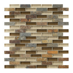 Somertile - Somertile Reflections Subway Brixton Stone and Glass Mosaic Tiles (Pack of 10) - The smooth glass mosaic tiles are aesthetically pleasing and will work well in quite a few different areas. The tiles are impervious to water and will work well inside and outside, wherever you choose. The stone colors vary from tile to tile.