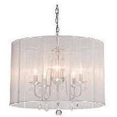 Chrome and White 6-light Crystal Chandelier | Overstock.com