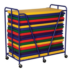 Ecr4kids - Ecr4Kids Prescholl Kids Mat Storage Rolling Trolly -Blue - Store rest and tumbling mats in this bright, durable trolley A steel framed rest mat trolley featuring mobility casters that lock for safety. Trolley holds mats up to 25 x 50 Blue powder-coat finisH Note Colors subject to change without notice Mats not included