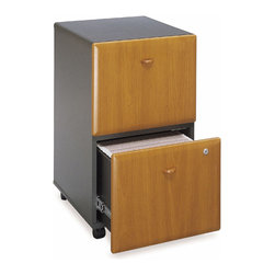 Bush Business - Mobile Cherry Colored Two Drawer Filing Cabin - Sometimes you don't need a tower of file drawers, instead you just need a drawer or two.  This handy little filing cabinet will do just what you need it to do, provide a place for you to organize all of your documents.  The cherry finish is simply a beautiful bonus that will make your office a more beautiful place.  The Medium Cherry 2 Drawer File Cabinet Advantage coasts right along on easy-gliding castors.  You can set up this classic unit to hold either regular or legal size files. * Two file drawers hold various sized documents. Both drawers can be locked. Drawers are fully extending on ball-bearing glides. Slides easily under desks. Smooth casters for portability. Medium cherry finish. 15.512 in. W x 20.276 in. D x 28.150 in. H