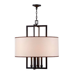 World Imports - Cathedral 4-Light Pendant with Shade, Rust - Four lights