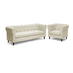 Baxton Studio - Baxton Studio Cortland Beige Linen Modern Chesterfield Sofa Set - This handsome update to the classic chesterfield style is a casual, urban, and modern living room furniture collection. Our Cortland Modern Chesterfield Sofa and Chair Set is made with a birch wood frame, CA117 flame retardant foam cushioning, and beige linen blend upholstery. A removable seat cushion and black wood legs finish off the look. This designer chesterfield sofa set is Chinese-made, requires assembly, and should be spot cleaned. One sofa and one chair are included with purchase.