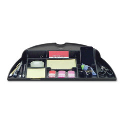 DAC - DAC Space Saver System Organizer Tray - 17.5 Width x 11.8 Depth - Black - MP-204 Organizer Tray is part of Data Accessories Space Saver System for monitor arms and removes desktop clutter by making use of the space below the monitor. Conveniently attach to a round monitor arm post from 1 to 1-5/8 in diameter. Multiple compartments keep supplies neat and handy. Nonskid rubber feet keep tray firmly in place on your worksurface. Tray is a TAA-compliant ergonomic solution.