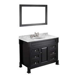 Bosconi - Vanity Set - Modern waterways: This perfectly designed vanity helps you navigate your morning regimen with resourcefulness and style. All the essentials can be stored in drawers, behind cabinet doors or along the spacious marble top.