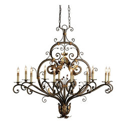 Currey and Company - Dominion Oval Chandelier - Heavy iron bar stock is wrought with intricate curves and embellishments that bring a detailed elegance to this imposing chandelier. Two chains stabilize and prevent this large piece from rotating as it hands. The true oval is useful in many a setting.