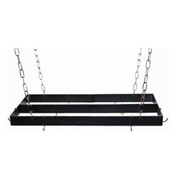 Rogar - Rectangle with Center Bar, Black/Chrome - Dimensions:  30 in. L x 15 in. W x 2 in. H