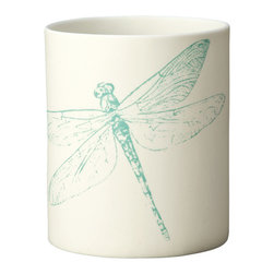 Kouboo - Dragonfly Porcelain Votive Candle Holder, Print in Teal - These votive candle holders are simple yet instantly noticeable, cute decor elements of your outdoor dinner table, your coffee table or even your bathroom sink. Light the tea light inside the votive and the details of the delicately designed dragonfly will contrast against the glowing porcelain. 1 year limited warrantyArtisan made from porcelain with no glazeSilk screen applied by handHolds one tea lightWeighs 0.25 lb
