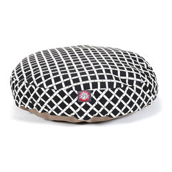 MAJESTIC PET PRODUCTS - Bamboo Round Pet Bed - This stylish round pet bed looks great in any room of your house and is filled with ultra-plush fiberfill for luxurious napping. The removable zippered slipcover is made from outdoor-treated, UV-protected polyester for durability, and the base is made from heavy-duty waterproof 300/600 denier fabric that can go inside or out. Spot clean the slipcover and hang dry. Comes in a variety of colors and patterns, so you can pick the one that complements your decor.