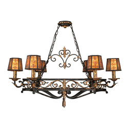Fine Art Lamps - Epicurean Chandelier, 400740ST - Ornate wrought ironwork with burnished gold accents and hand-detailed mica candelabra shades lend a rustic romance to this traditional island chandelier. It's a great way to add some class and character to the kitchen.
