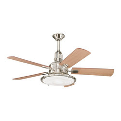 "DECORATIVE FANS - DECORATIVE FANS Kittery Point 52"" Contemporary Ceiling Fan X-NP020003 - From the Kittery Point Collection, this Kichler Lighting ceiling fan features an industrial styled head complete with a Fresnel lens and Polished Nickel finish. It also features reversible maple or sapelle fan blades."