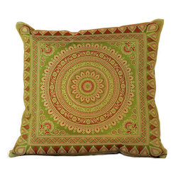 Banarsi Designs - Exotic Oriental Pillow Cover, Set of 2 (Citrus Green) - The Exotic Oriental Pillow Cover brings beauty and style to your surroundings. Crafted in India, these gorgeous throw pillow covers are available in a variety of unique colors. Choose from a great variety of colors in our collection or mix and match your favorite pillow covers together to create a customized look for your home.  Zippers allow for easy removal and the 16 X 16 size fits most throw pillows in your home. Perfect for decorating your living room, guest rooms and bedrooms.