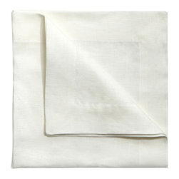 Jung Lee - Pure White Linen Napkin - Perfect for entertaining, these ultra soft, elegant linens feature a large, luxurious hem.