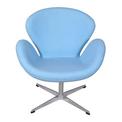 Hampton Modern - Arne Jacobsen Swan Chair in Baby Blue - The Swan Style Chair features sweeping curves in a classy style that is sure to catch any guest's eye. The comfortable hand stitched upholstered wool is soft to the touch, and fits well layered over the high density foam interior. The unique seat pitch of the accent chair is designed to relax you.  With a sturdy stainless steel rotating base this piece is built to last.