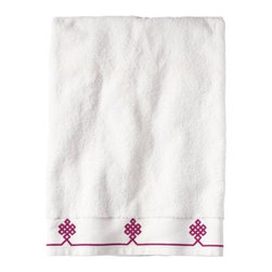 Serena & Lily - Berry Gobi Bath Towel - We believe a bath towel should be one of life's little luxuries. Woven in Portugal from supremely soft cotton, they're lofty, absorbent and quick to dry. The embroidered motif was borrowed from our best-selling sheets, adding the perfect color pop to classic white bath and hand towels. Best of all  they won't fade, fray or wear out.