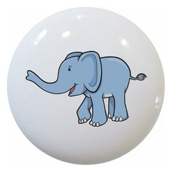 Carolina Hardware and Decor, LLC - Cute Blue Baby Elephant Ceramic Knob - 1 1/2 inch white ceramic knob with one inch mounting hardware included.  Great as a cabinet, drawer, or furniture knob.  Adds a nice finishing touch to any room!