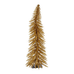 """Vickerman - Ant Gold Whimsical 70CL 170T (4' x 22"""") - 4' x 19"""" Antique Gold Laser Tree 70 Clear Mini Lights 170 PVC tips, with metal base."""