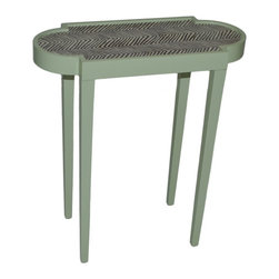 Tini Iiz Tiny Unique Accent Table  - Shagreen with Zig Zag - Discreet, yet impact-full; practical, and elegant - The Tini II is the epitome of furniture designed for both form and function, transcending the typical accent table. This Tini table is the perfect size, fits in anywhere - has just enough room for your favorite book and your cocktail of choice; Ours is the martini of course. This particular version of The Tini II is finishes with the ever-popular Quadrille petit zigzag fabric for that added bit of oomph. Available in 16 colors. Made in the U.S.A.
