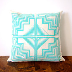 Aztec Quilt Pillow Cover - Make the most of your throw pillow mix with this maze-like pillow cover. Geometric patterns and turquoise accents add a touch of the southwest to any room. Screen printed by hand with eco-friendly ink on organic cotton and hemp fabric, this pillow goes beyond a small place to rest your head.