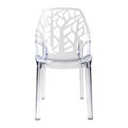 Flora Chair - Add to your dream garden with Modani Furniture's ornately carved indoor and outdoor chair. This versatile etched Flora Chair will bring a vibrant accent to your outdoor garden table. Mix it up and bring inside for a unique dining chair that matches modern minimalist decor just as much as the Baroque accents in the modern cutouts. Grab a pair of the Flora Dining chairs and set in a small hideaway with a side table. Brighten up a dark dining room with the flawless design of these dining chairs. Each one is carefully made of a clear polycarbonate material that is as resistant to wear and tear as it is beautiful. Hang a modern chandelier or ceiling lamp above the table and chairs for a shimmering look with interior designs from Modani Furniture.