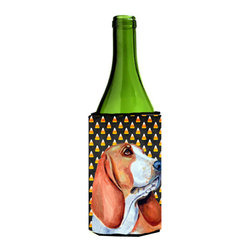 Caroline's Treasures - Basset Hound Halloween Portrait Wine Bottle Koozie Hugger - Basset Hound Candy Corn Halloween Portrait Wine Bottle Koozie Hugger LH9073LITERK Fits 750 ml. wine or other beverage bottles. Fits 24 oz. cans or pint bottles. Great collapsible koozie for large cans of beer, Energy Drinks or large Iced Tea beverages. Great to keep track of your beverage and add a bit of flair to a gathering. Wash the hugger in your washing machine. Design will not come off.