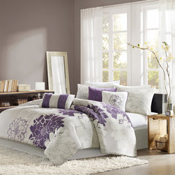 Madison Park - Madison Park Bridgette Floral-pattern Cotton 7-piece Comforter Set - This seven-piece floral comforter set gives your bedroom cozy charm. This white and purple floral set includes a comforter,a bedskirt,two pillowshams,and three pillows. It has everything you need to make dressing up your bedroom easy and convenient.