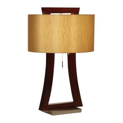 Nova Lighting - Nova Lighting Vault Modern / Contemporary Table Lamp X-3430101 - The beige linen diffuser appears to hug to the frame of this Nova Lighting table lamp, creating a visual appeal like no other. From the Vault Collection, this contemporary table lamp pairs its delightful curvature with rich shades of Walnut, creating a warm and inviting look.