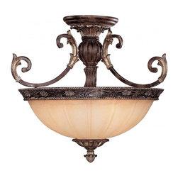 Joshua Marshal - Three Light Moroccan Bronze Cream Textured Glass Bowl Semi-Flush Mount - Three Light Moroccan Bronze Cream Textured Glass Bowl Semi-Flush Mount