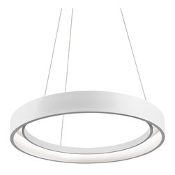 "Elan - Contemporary Elan Fornello LED 23 1/2"" Wide Sand White Pendant Light - This inviting contemporary LED large pendant light features a an open circle metal slat structure in textured sand white finish suspended from a matching round canopy. Energy efficient LED tape illuminates the design from the inside. Upgrade your home decor with this modern fixture from Elan lighting. Contemporary large open circle design LED pendant light. Textured sand white finish. Metal construction. Round ring design. Includes LED tape with 380 integrated 0.1 watt arrays (38 watts total). Comparable to two 100 watt incandescent bulbs. 23 1/2"" wide. 2 3/4"" high.  Contemporary large open circle design LED pendant light.  Textured sand white finish.  Metal construction.  Round ring design.  Includes LED tape with 380 integrated 0.1 watt arrays (38 watts total).  Comparable to two 100 watt incandescent bulbs.  23 1/2"" wide.  2 3/4"" high."