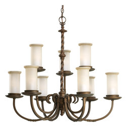 Thomasville Lighting - Thomasville Lighting P4179-102 Santiago 9 Light 2 Tier Chandelier - Thomasville Lighting P4179-102 Nine Light Santiago Double Tier ChandelierSpiraled detailing in the center column reveal scrolled arms enhanced by subtle twists and highlighted by pillars of Jasmine Mist Glass for a unique hand-crafted style that will enhance the look of any home. Equally at home in an old Spanish mission and today's modern foyers and dining rooms, this rustic nine light, two tier chandelier exudes a craftsman style that will breathe new life into your home with its Old World charm.With a Forged Black, Roasted Java or Antique Pewter finish, the Santiago collection features Jasmine mist glass.Thomasville Lighting P4179-102 Features: