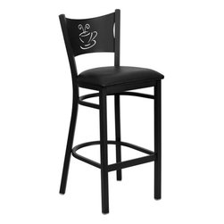 """FlashFurniture - Hercules Series Coffee Back Metal Restaurant Bar Stool - Features: -Heavy duty restaurant bar stool. -Black powder coated frame finish. -2.5"""" Thick 1.4 density foam padded seat. -18 Gauge steel frame. -75"""" Thick plywood seat. -Coffee back design. -Foot rest rung. -Two curved support bars. -CA117 Fire Retardant Foam. -Designed for Commercial Use; Suitable for Home Use. Dimensions: -Seat size: 16.75"""" W x 16.5"""" D. -Back size: 11.75"""" H x 17"""" W. -Overall: 42.25"""" H x 18.25"""" W x 19.5"""" D, 18 lbs."""